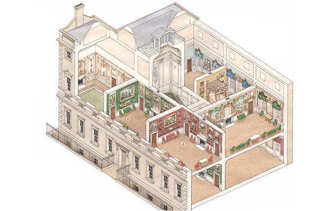 This year marks the 80th anniversary of the sale and demolition of Norfolk House. John Martin Robinson re-creates the splendours of this outstanding Georgian town house with the help of historical photography and a reconstruction drawing specially commissioned by Country Life. Illustration by Stephen Conlin.