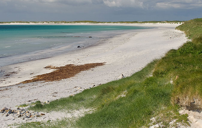 Coral sand beach at Kildonan (Cill Donnain) on isle of South Uist. Western Isles, Scotland.