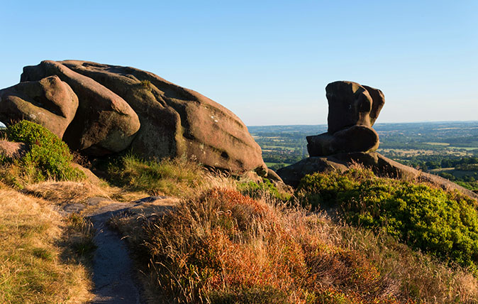 Summer evening view from the rock formation of Ramshaw Rocks near Leek in the English Peak District National Park