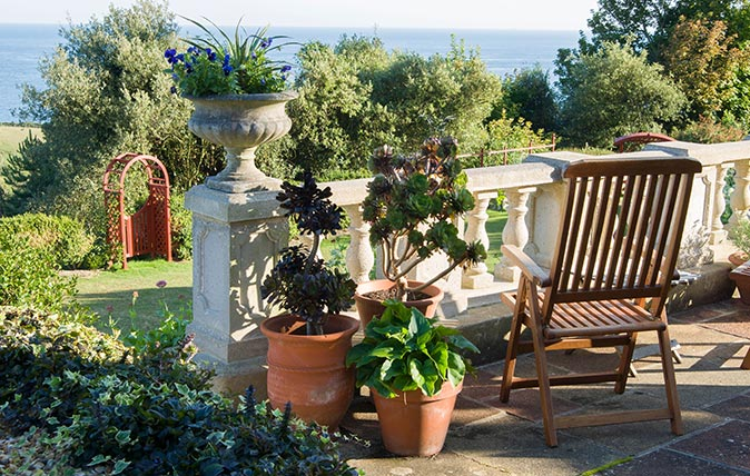 Pots on a terrace at The Shute, Ventnor, Isle of Wight