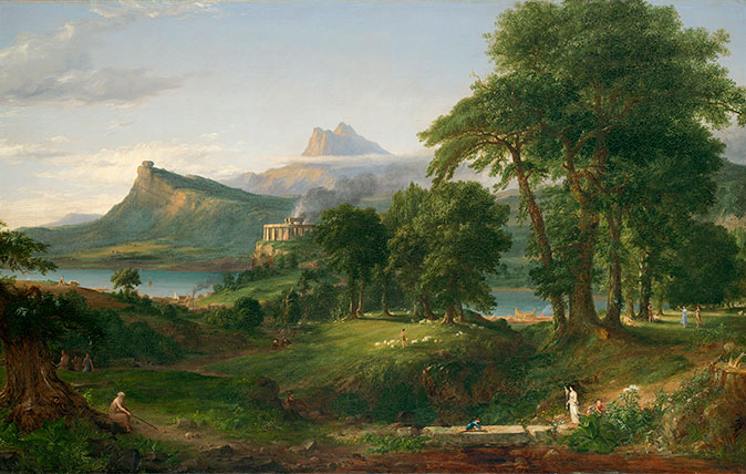 Thomas Cole, The Course of Empire: The Pastoral or Arcadian State, about 1834. Oil on canvas, 99.7 × 160.6 cm. National Gallery, ccourtesy of the New-York Historical Society © Collection of The New-York Historical Society, New York / Digital image created by Oppenheimer Editions