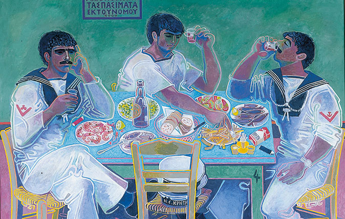 John Craxton, Still Life with Three Sailors, 1980-85. Tempera on canvas. Private Collection, UK. © 2018 Craxton Estate/DACS.