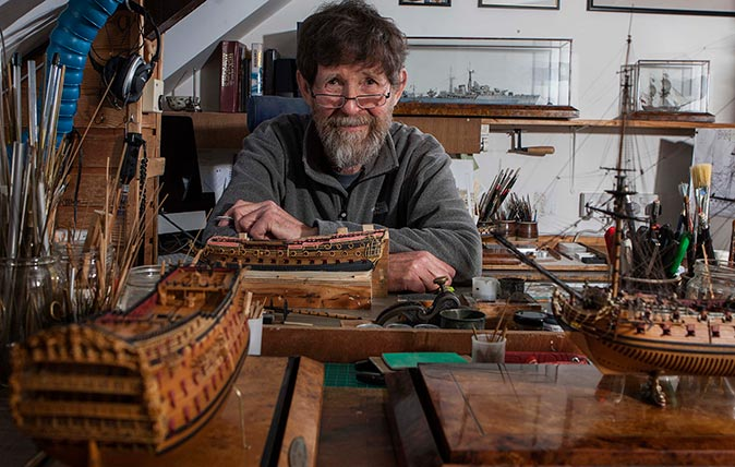 Model ship maker Philip Reed at his workshop above his house in Truro, Cornwall. © Richard Cannon / Country Life Picture Library