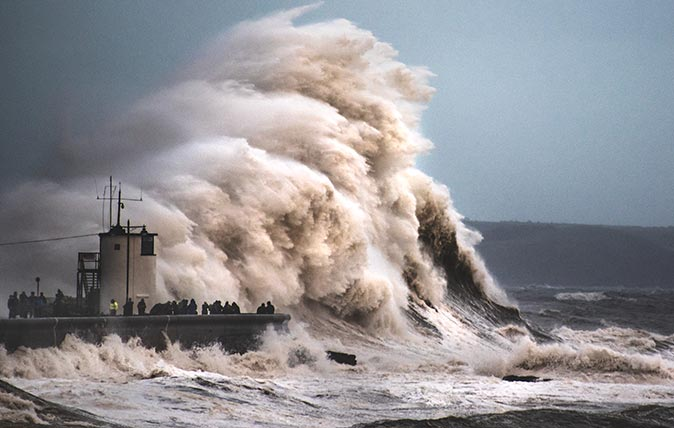 Waves batter the British coast during a storm