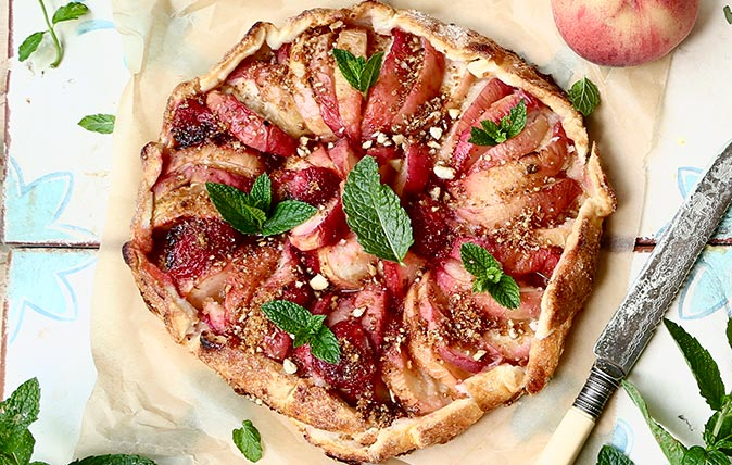 Peach and strawberry galette - Melanie Johnson