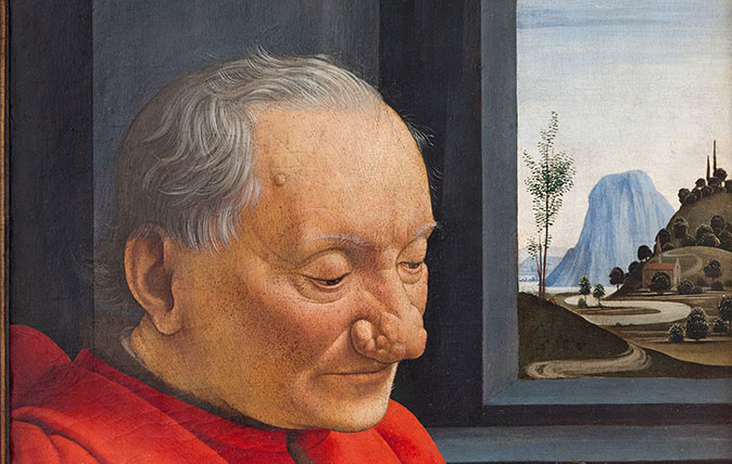 Portrait of an old man and a boy