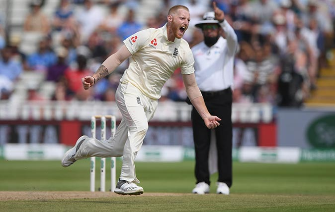 England bowler Ben Stokes celebrates after taking the wicket of India batsman Mohammed Shami during day 4 of the First Test Match between England and India at Edgbaston on August 4, 2018 in Birmingham, England. (Photo by Stu Forster/Getty Images)
