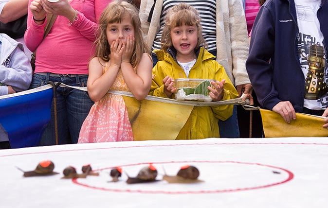 The quirky annual World Snail Racing Championship, held in Congham, Norfolk, England