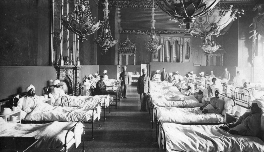 Injured Indian soldiers of the British Army at the Brighton Pavilion, converted into a military hospital in 1915.