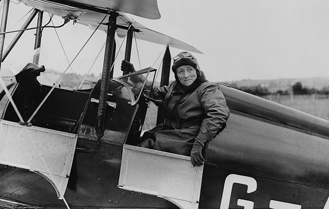 Aviator Mary Russell, Duchess of Bedford (1865 - 1937) in the cockpit, circa 1935. (Photo by Fox Photos/Hulton Archive/Getty Images)