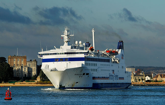 Barfleur ferry departing from Poole. January 2010