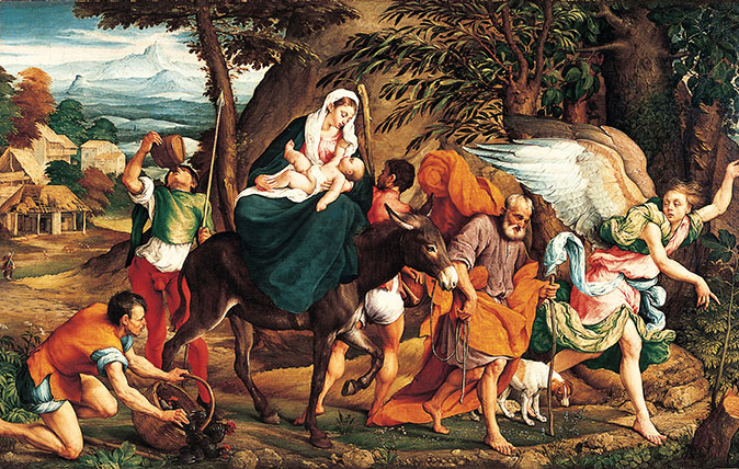 The Flight into Egypt, 1544–45, by Jacopo Bassano (1510–92), 5ft by 7½ft, Norton Simon Art Foundation, Pasadena, California, USA