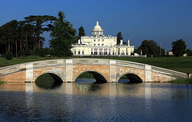 The fine clubhouse at Stoke Park in Buckinghamshire
