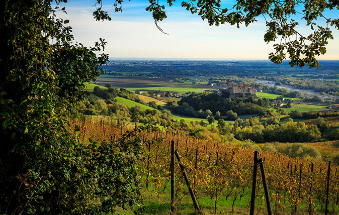 Looking down from the Apennines to the Po Valley, Langhirano, Parma, Italy