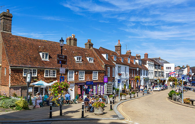 The High Street in Battle, site of the Battle of Hastings, East Sussex England, UK
