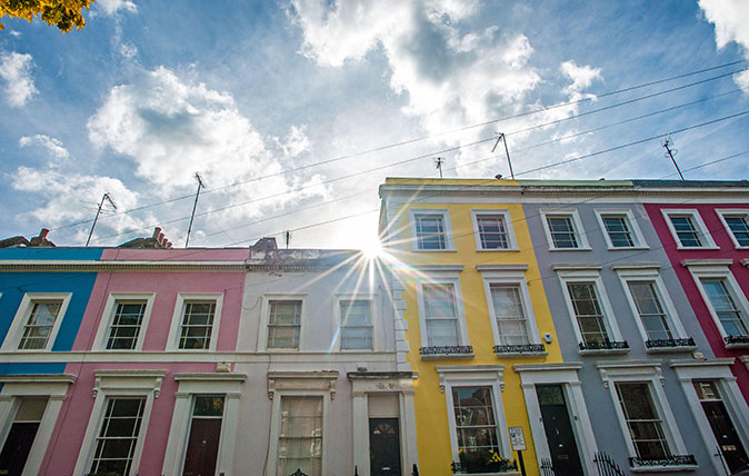 Colourful houses in Notting Hill London