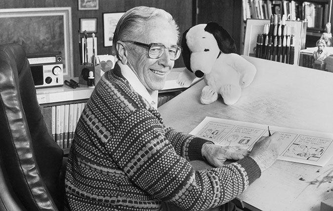 Charles M. Schulz in His Studio