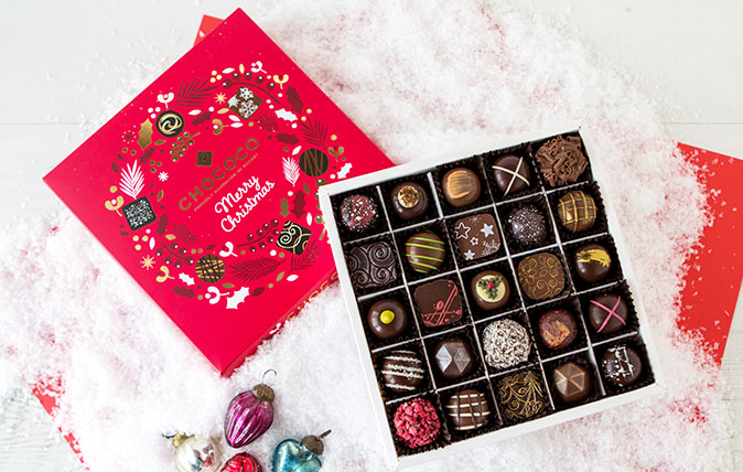 Chococo's 3 tiered Christmas Selection Box, Cascade of 50 fresh Christmas Chocolates, for £45