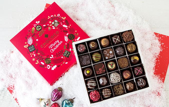 Chococo's 3 tiered Christmas Selection Box, Cascade of 50 fresh Christmas Chocolates, for £45