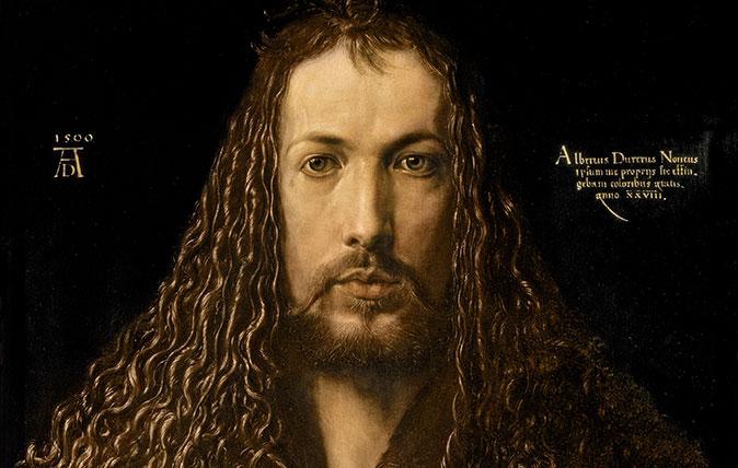 Self-portrait at 28, 1500, by Albrecht Dürer (1471–1528), 26½in by 19in, Alte Pinakothek, Munich, Germany.