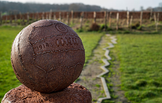 WW1 monument for Christmas Truce football match played between English and German troops at Ploegsteert, West Flanders, Belgium