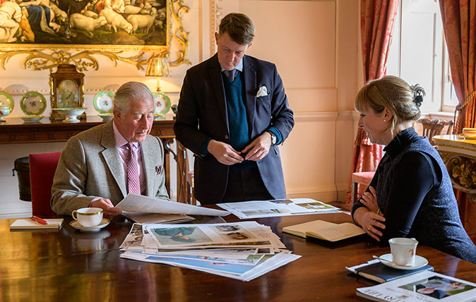 HRH Prince of Wales working with Mark Hedges and Paula Lester