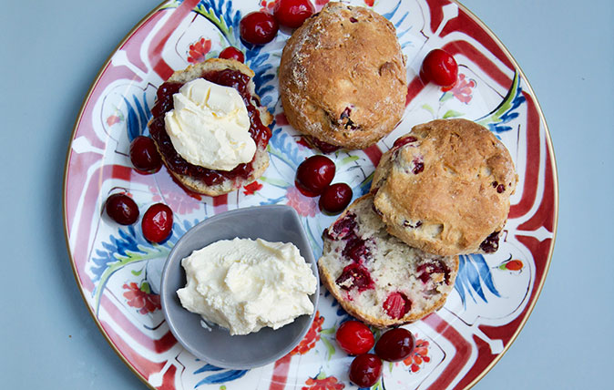 How to make cranberry scones for a cream tea with a Christmas twist