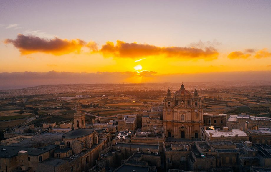 Aerial view of Mdina at sunrise in Malta