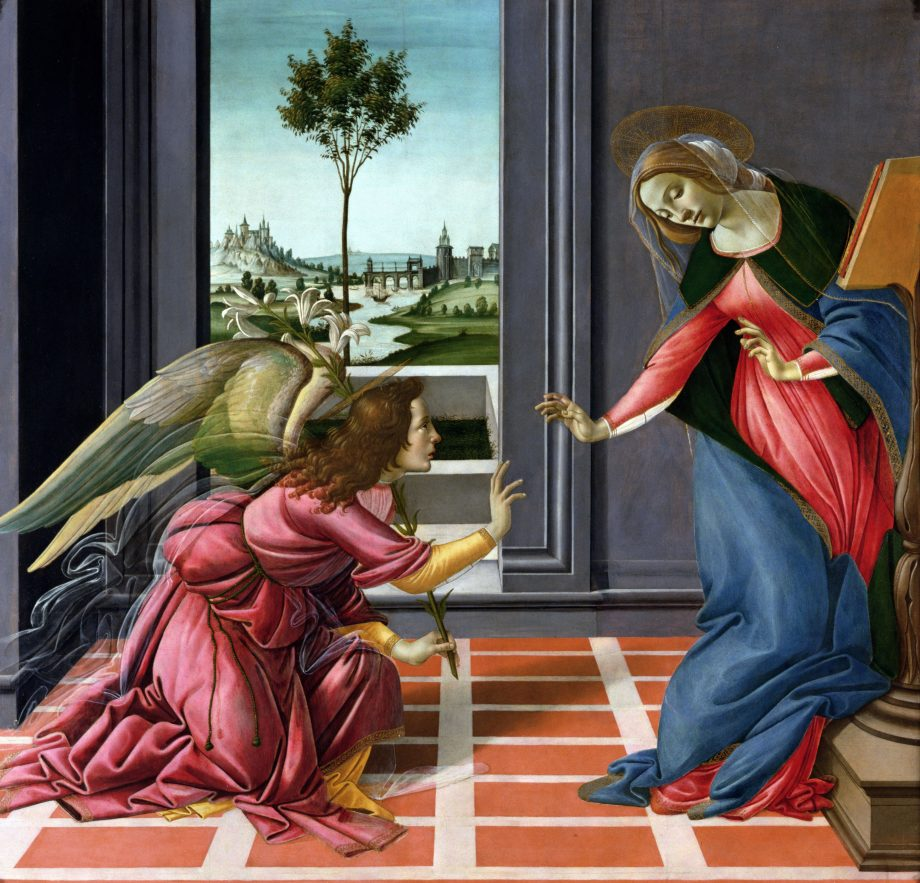 The Annunciation, also known as the Cestello Annunciation, a tempera painting by the Italian Renaissance master Sandro Botticelli (about 1445–1510). Painted 1489–90; 4ft 9in by 5ft 1in, Uffizi, Florence, Italy.