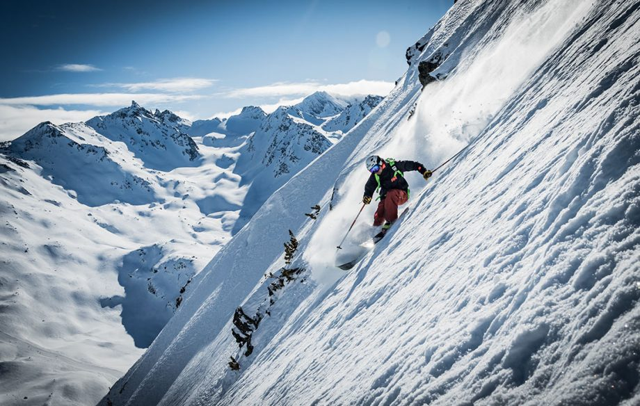 Aurelien Ducroz showing one of his favourite off-piste locations descending to Meribel