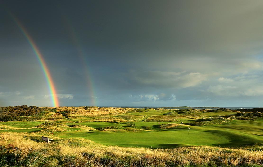 A rainbow forms behind the green on the 431 yards par 4, ninth hole 'Tavern' with the 418 yards par 4 15th hole 'Skerries' in the distance at Royal Portrush Golf Club the venue for The Open Championship 2019 on September 12, 2018 in Portrush, Northern Ireland. Phot: David Cannon/R&A via Getty Images