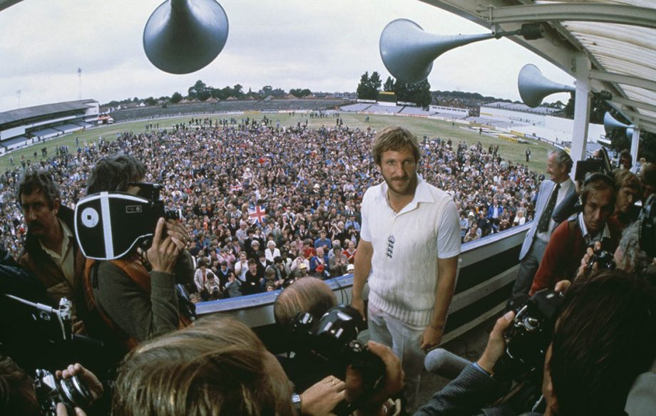 Ian Botham being interviewed after his historic performance in the third Test against Australia at Headingley, 21st July 1981. Botham hit an innings of 149 not out and took seven Australian wickets to help England win by 18 runs. (Photo by Adrian Murrell/Getty Images)