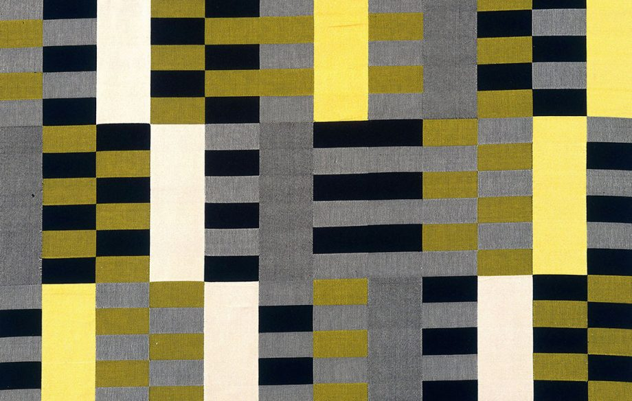 Anni Albers, 'Black White Yellow' (1926/1965). Cotton and silk, 2032 x 1207 mm. © 2018 The Josef and Anni Albers Foundation / Artists Rights Society (ARS), New York. Lent by The Metropolitan Museum of Art, Purchase, Everfast Fabrics Inc. and Edward C. Moore Jr. Gift, 1969