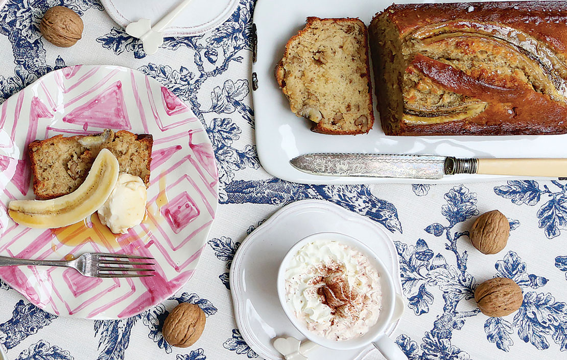 Recipe: Banana, walnut and salted maple-syrup loaf, served with maple mascarpone