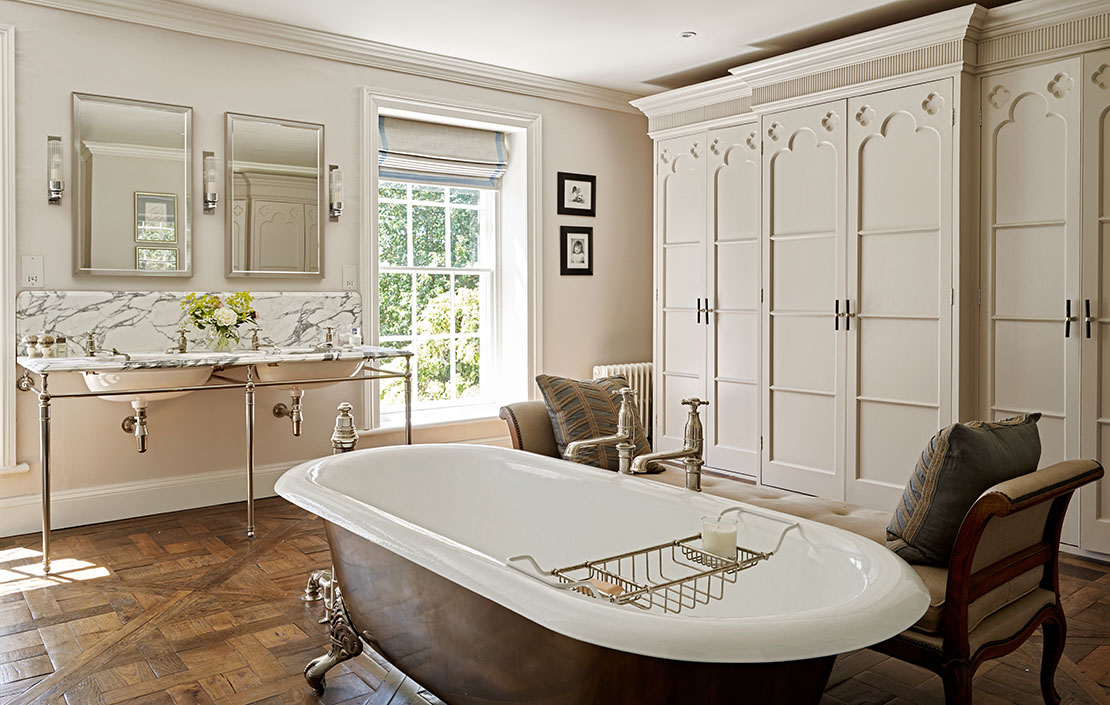 Traditionally trendy: The stunning bathroom of a completely refurbished Grade II-listed Georgian rectory