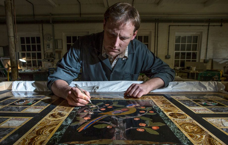 Thomas Greenaway working on a pietra dura from Lotherton Hall in West Yorkshire he is currently restoring at his Northamptonshire workshop. The Decorative Arts Society has funded the conservation work in advance of an exhibition marking Lotherton's 50thanniversary as a museum. The table was bought with the aid of a grant from the National Art Collections Fund in 1971. It was designed by William Burges for himself, for his house on Buckingham Street. It was later moved to his grand gothic mansion he designed for himself, the Tower House in Kensington (now owned byJimmy Page!). It was apparently used by him for special occasions, when he would place many of his most important treasures atop it. The fact that parrots were his favourite bird perhaps adds extra resonance.