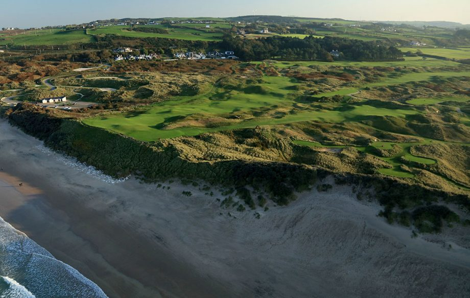 Aerial Views of Royal Portrush Golf Club - An aerial photograph from out to sea of the par 3, sixth hole Harry Colts' in the foreground and the par 4, fifth hole 'White Rocks' behind on the Dunluce Links at Royal Portrush Golf Club the host venue for the 2019 Open Championship on October 10, 2018 in Portrush, Northern Ireland. (Photo by David Cannon/Getty Images)