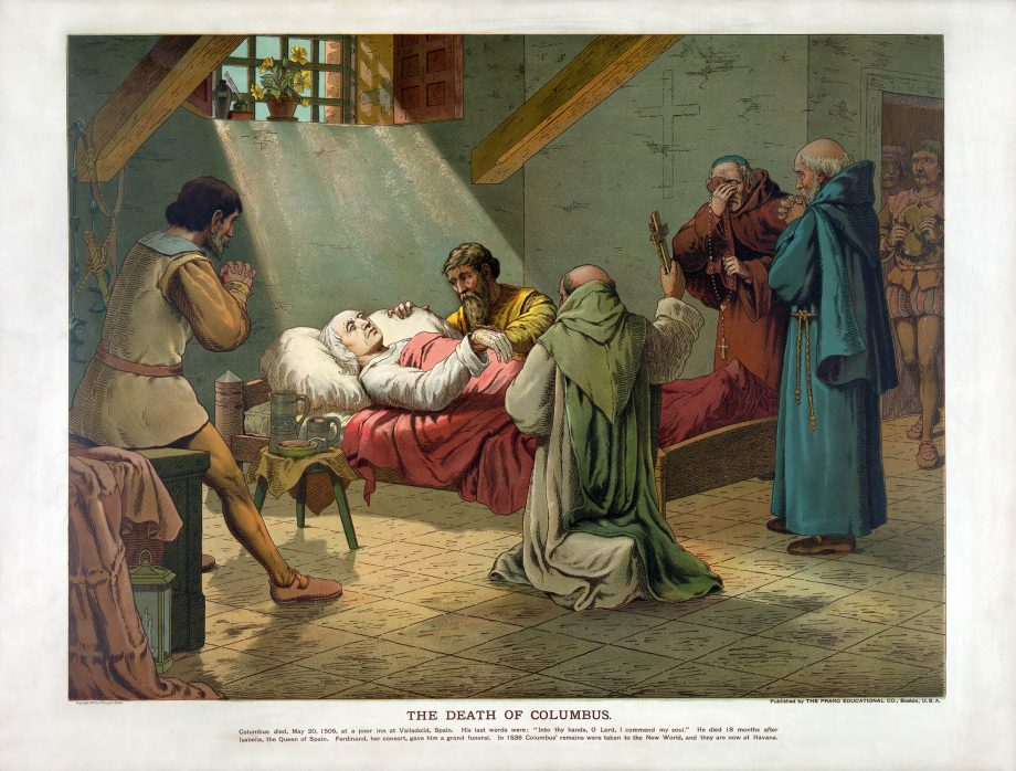 'The Death of Columbus', depicted in an 1893 lithograph print by The Prang Educational Company.