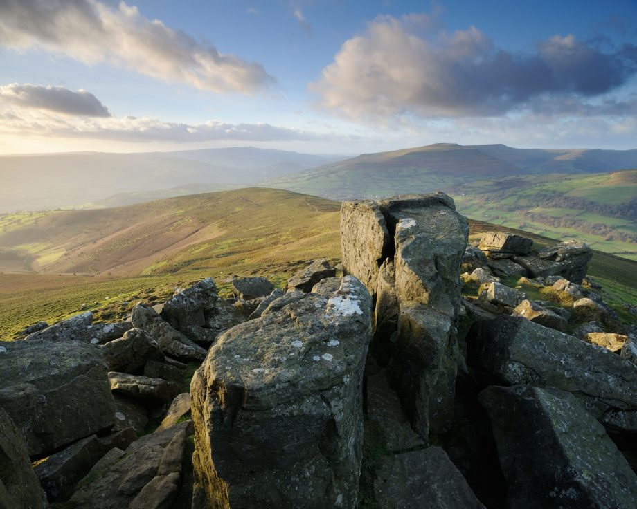 A spectacular view looking west from the top of Sugar Loaf mountain in the Black Mountains, Brecon Beacons, Wales
