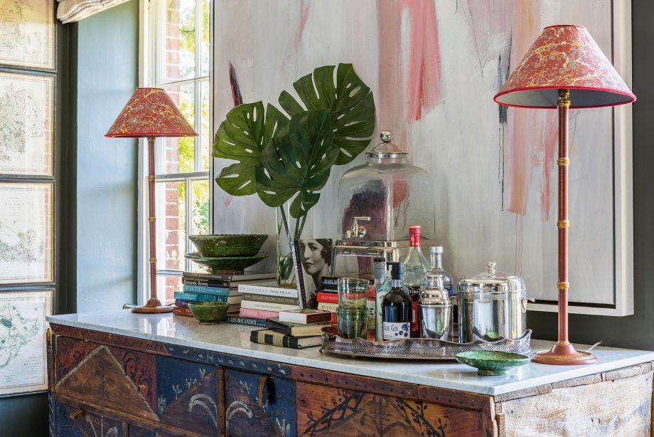 A Henriette Von Stockhausen room for VSP Interiors using Rosi de Ruig lampshades