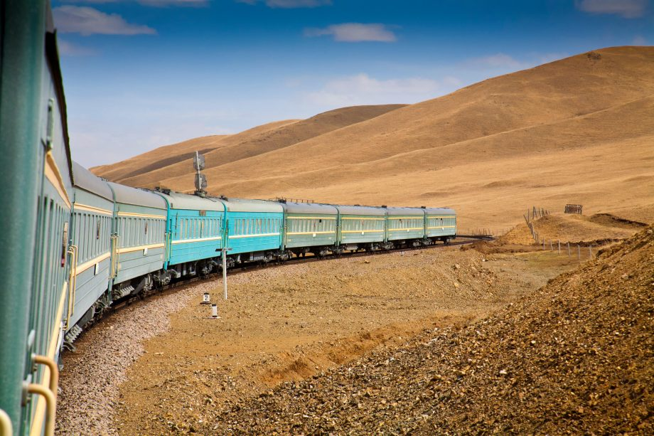 The Trans Mongoian railway rolls through the mountains near Ulaanbaatar