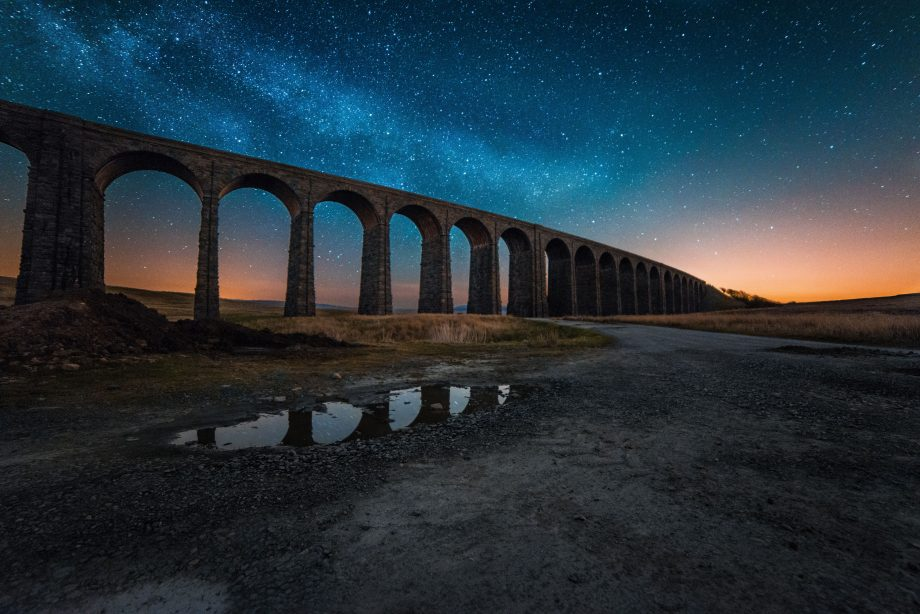 Stars and a sunset at the Ribblehead Viaduct
