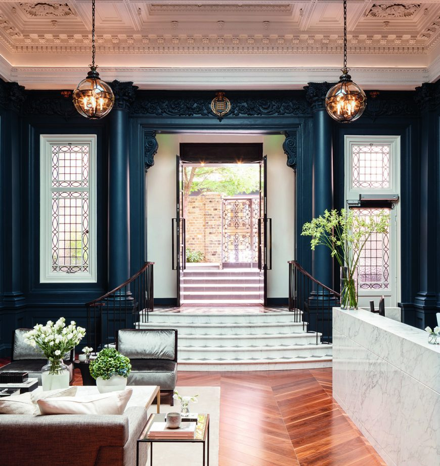 The neo-classical entrance at the Floral Court Collection in Covent Garden
