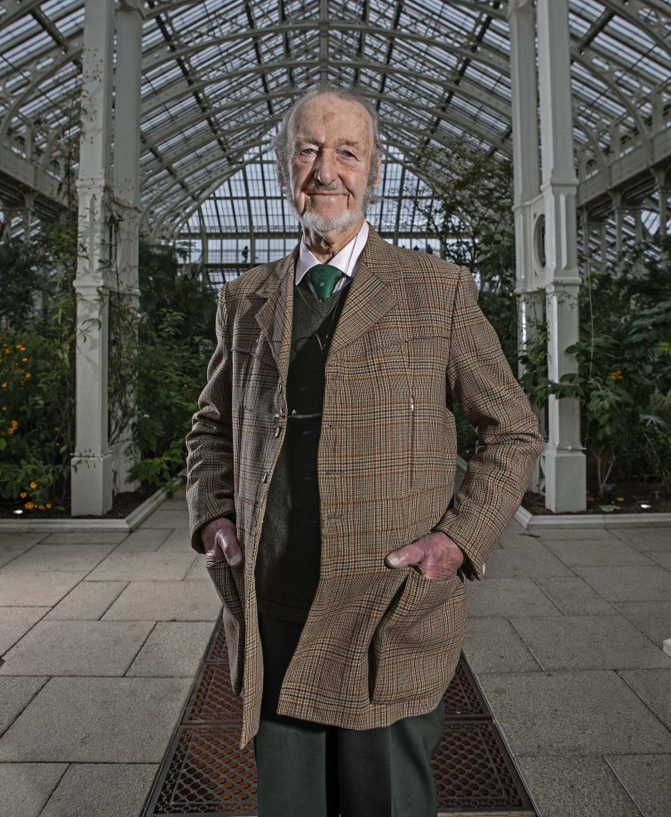 Architect Sir Donald Insall photographed in the Temperate House at Kew Gardens.