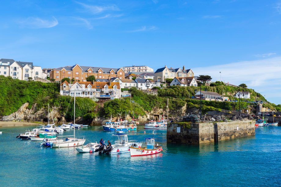The harbour in Newquay, Cornwall, England, UK