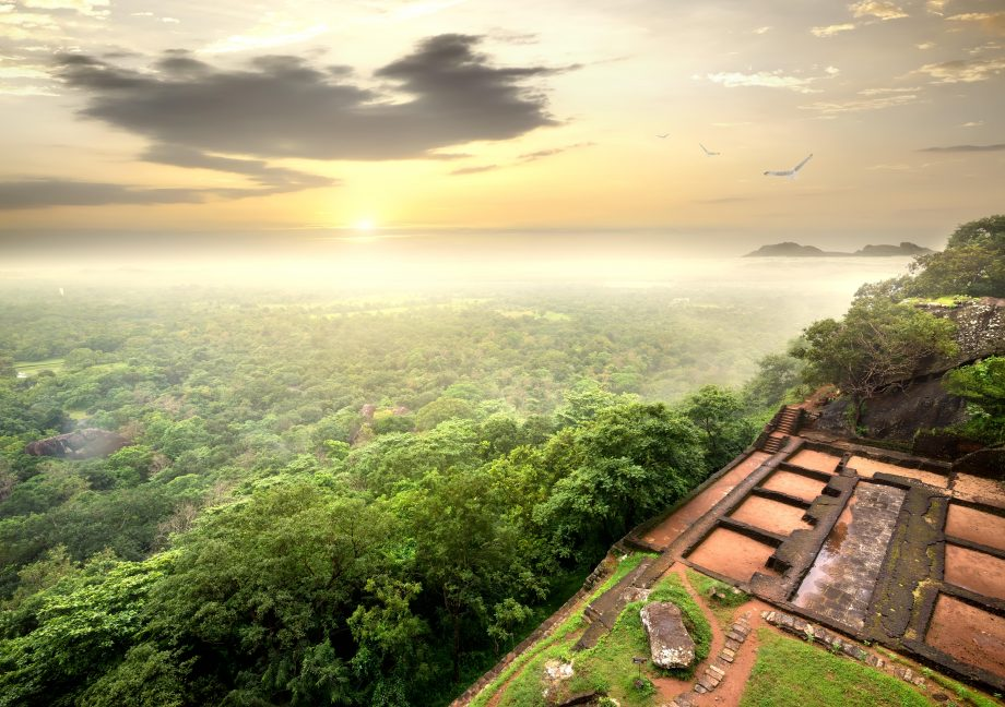 The ruins of the prison on Sigiriya in Sri Lanka