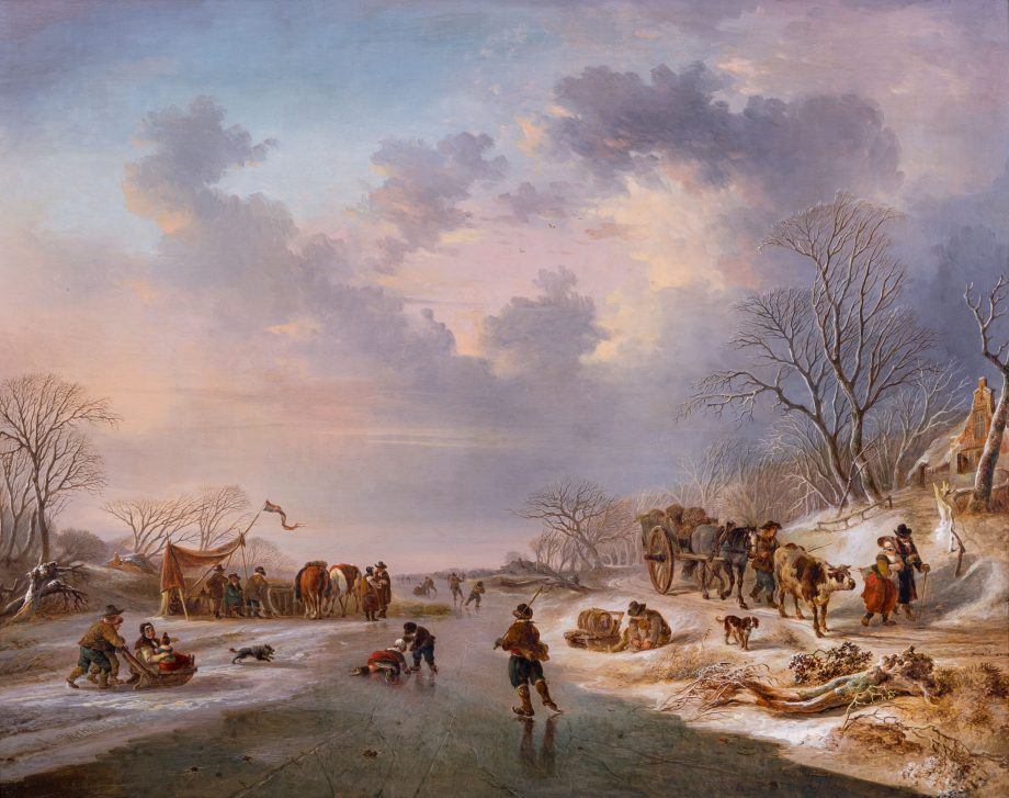 'Skaters on a Frozen River with Horses and Figures by a Tent and Other Figures by a Horse and cart on a Track' by Andries Vermeulen (1763–1814). Picture date unknown; 20½in by 26in, private collection. Photographed by Andrew Sydenham/Country Life.