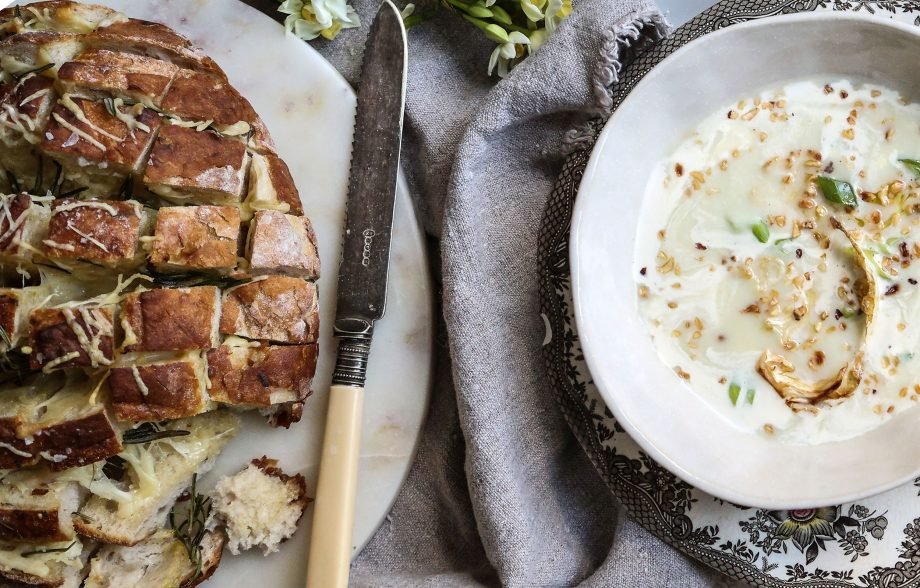 Sourdough bread and cauliflower soup