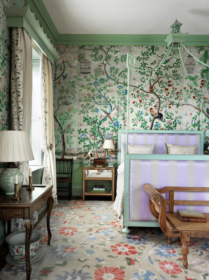 Antique Chinese wallpaper at Edward Bulmer's home, The Court of Noke, Herefordshire