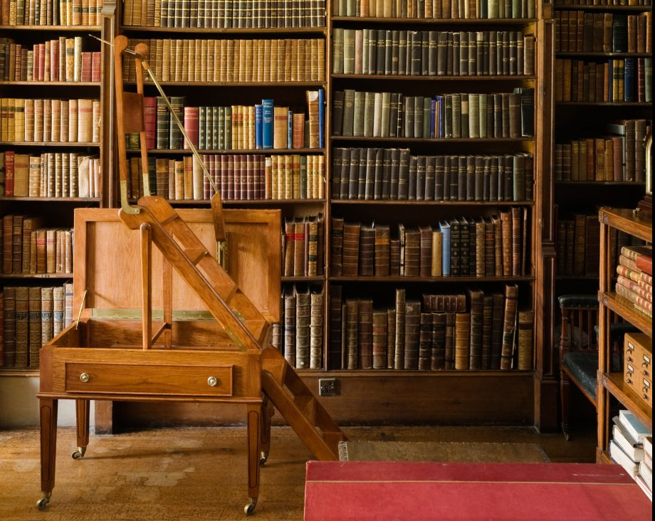 Elizabethen library with vaulted ceiling and folding step ladder